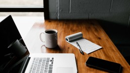 desk remote working coffee