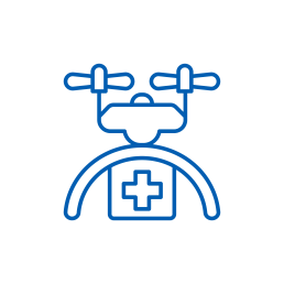 healthcare medical drone icon blue